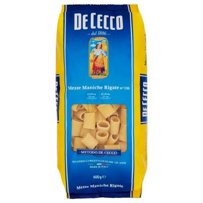 Paste Mezzi Maniche Rigate, De Cecco, 500g