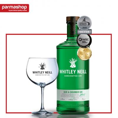 Pachet Gin cu Aloe&Castravete Whitley Neill 0.7L, 43% Alc + Pahar
