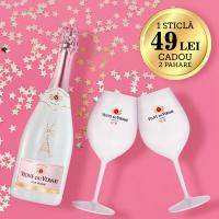 Vin Spumant Ice Roze + Pahare, Veuve de Vernay, 0,75L