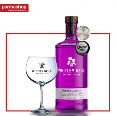 Pachet Gin cu Ginger&Rubarba Whitley Neill 0.7L, 43% Alc + Pahar