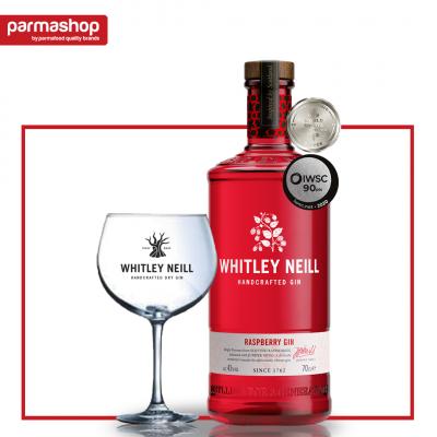 Pachet Gin cu Zmeura Whitley Neill 0.7L, 43% Alc. + Pahar