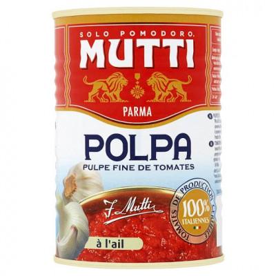 Rosii taiate fin cu usturoi - Polpa, Mutti, 400g