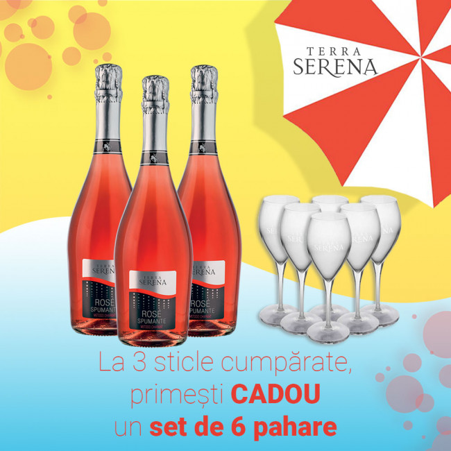 Pachet Spumant Rose Extra Dry Terra Serena + Pahare CADOU