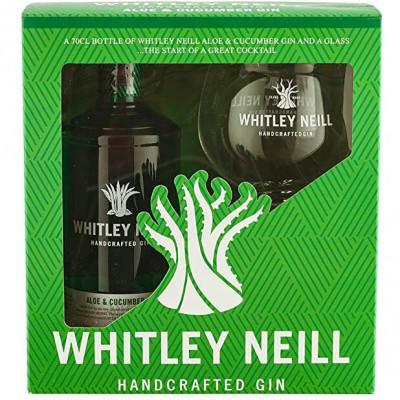 Whitley Neill - Pachet Gin Aloe & Cucumber 43% Alc  0.7L + Pahar