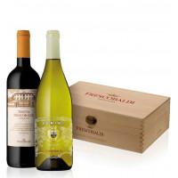 Italia - Frescobaldi - Pachet Vin Pomino Alb Doc 12,5% Alc  0.75L Si Vin Castiglioni Toscana Rosu Igt 13% Alc 0.75L - 2 Sticle In Cutie Lemn