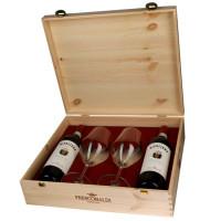 Italia - Frescobaldi - Pachet Vin Nipozzano Riserva Chianti Rufina Rosu Docg 13% Alc  0.75L - 2 Sticle + 2 Pahare In Cutie Lemn