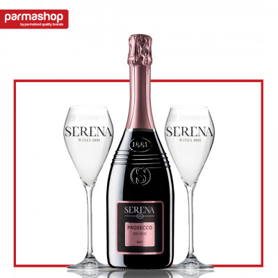 Pachet Prosecco Rose Serena Wines 1881 0.75L + 2 Pahare