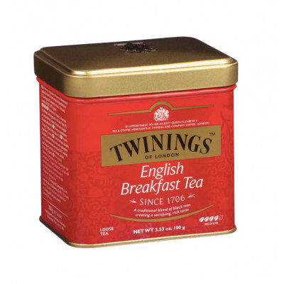 Ceai negru English Breakfast, cutie metal, Twinings, 100g