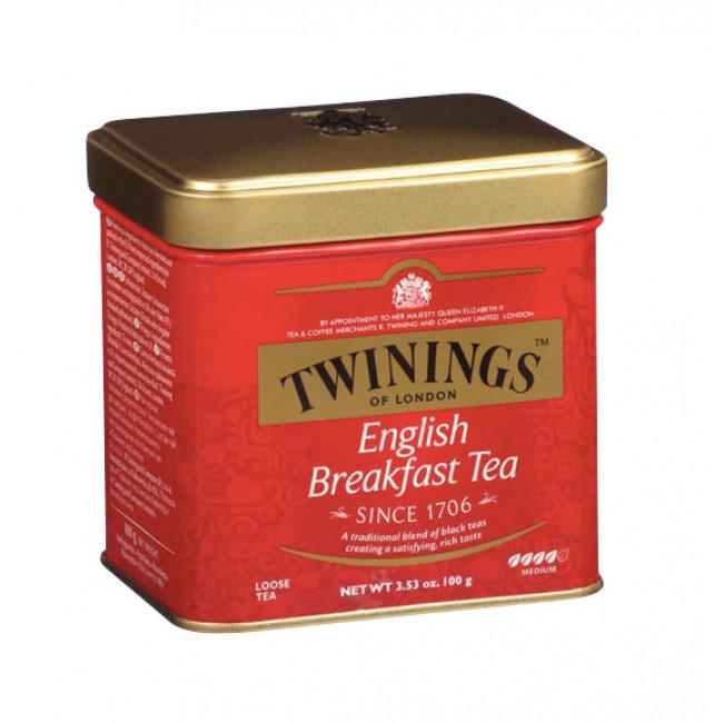 Ceai negru English Breakfast, cutie metal, Twinings, 100g