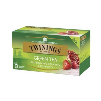Ceai verde cu aroma de rodie, zmeura si capsuni, Twinings, 25x1,5g