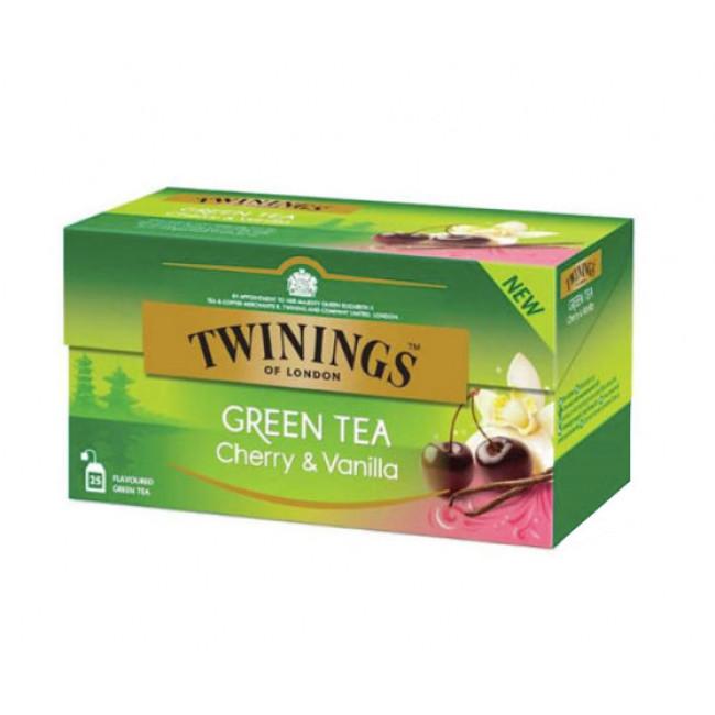 Ceai verde cu aroma de cirese si vanilie, Twinings, 25x1.7g