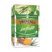 Ceai pentru infuzie cu rooibos, ghimbir si menta, Twinings, 20x2g