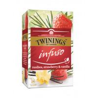 Ceai pentru infuzie cu rooibos, capsuni si vanilie, Twinings, 20x2g