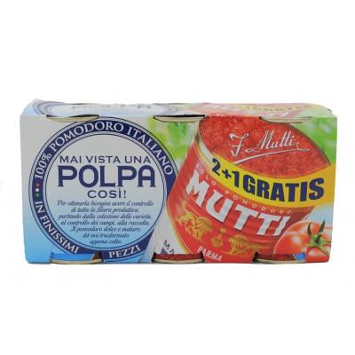 Rosii taiate fin - Polpa, Mutti, 3x400g