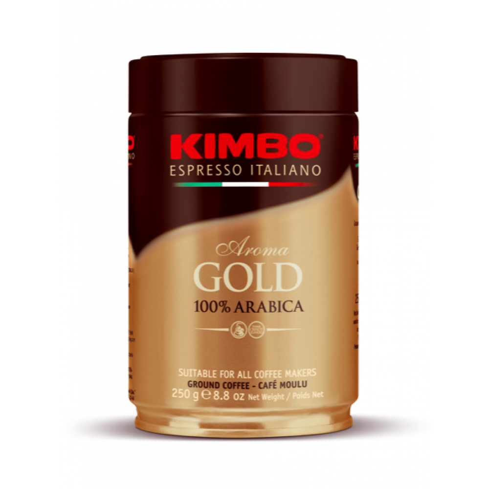 Cafea macinata Aroma Gold 100% Arabica Cutie Metal, Kimbo, 250g