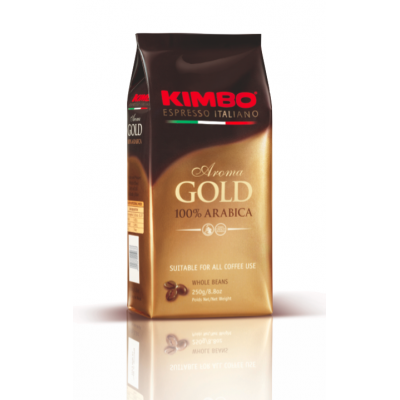 Cafea boabe Aroma Gold 100% Arabica, Kimbo, 250g