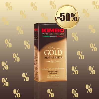 1+1 KIMBO - CAFEA AROMA GOLD 100% ARABICA 250G